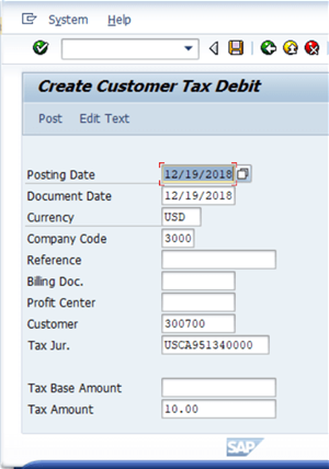 DMA SAP Tax Debit Credit Utility
